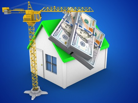 earnest: 3d illustration of simple house over blue background with money and crane Stock Photo