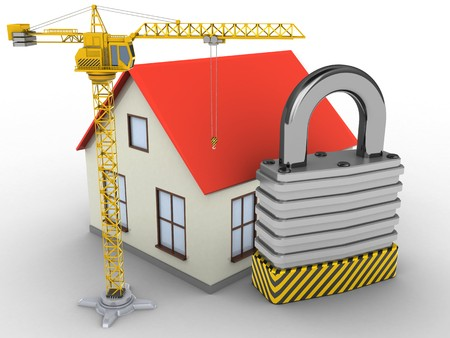 stipes: 3d illustration of generic house over white background with padlock and crane