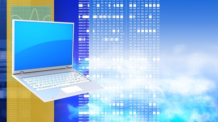hexadecimal: abstract 3d clouds background with laptop pc and hexadecimal code Stock Photo