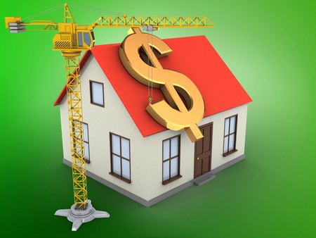 3d illustration of generic house over green background with dollar sign and crane