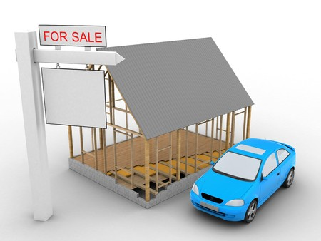 rent index: 3d illustration of house frame over white background with car and sale sign Stock Photo