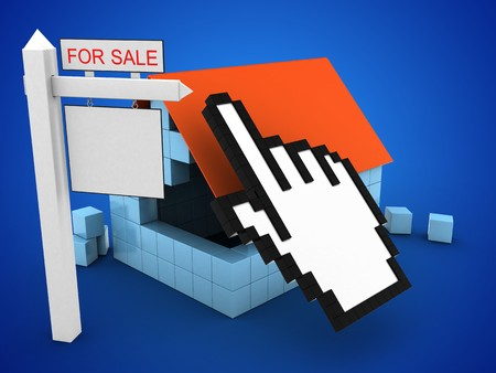 rent index: 3d illustration of block house over blue background with cursor and sale sign