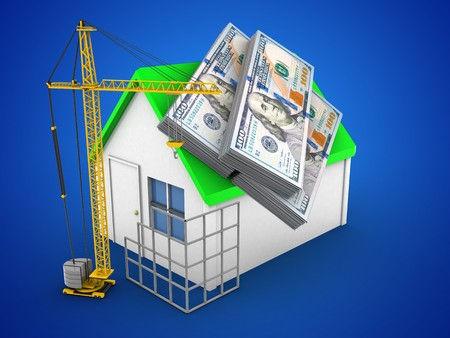 deposite: 3d illustration of simple house over blue background with money and construction site