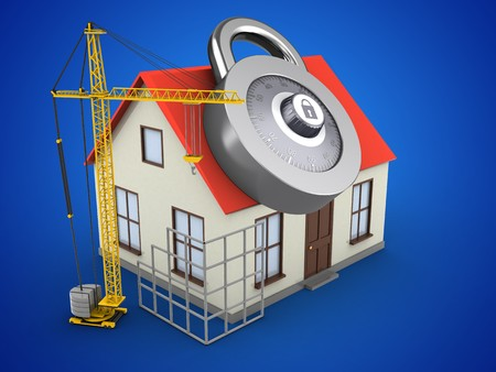 3d illustration of generic house over blue background with code lock and construction site