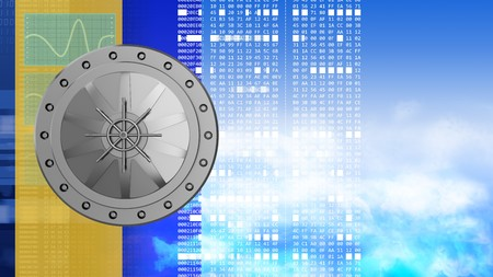 information science: abstract 3d clouds background with vault door and hexadecimal code Stock Photo