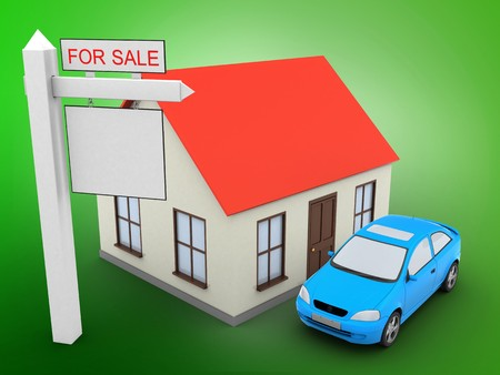 rent index: 3d illustration of generic house over green background with car and sale sign Stock Photo