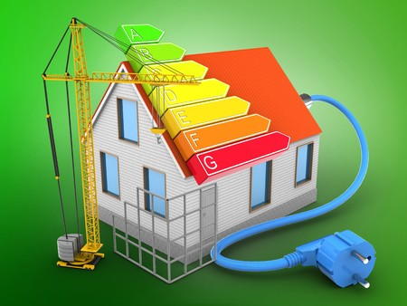 energy ranking: 3d illustration of house red roof over green background with power ranks and construction site