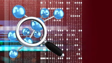 hexadecimal: abstract 3d red background with molecule model magnify glass and hexadecimal code Stock Photo
