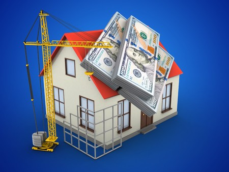 deposite: 3d illustration of generic house over blue background with money and construction site Stock Photo