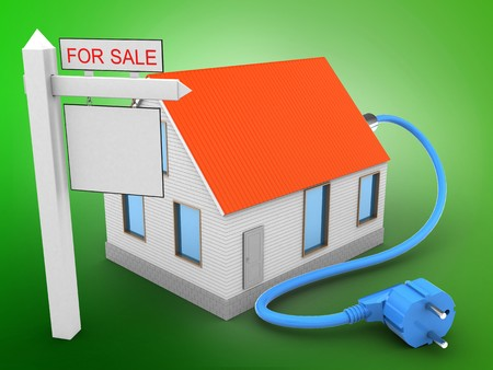 rent index: 3d illustration of house red roof over green background with power cable and sale sign