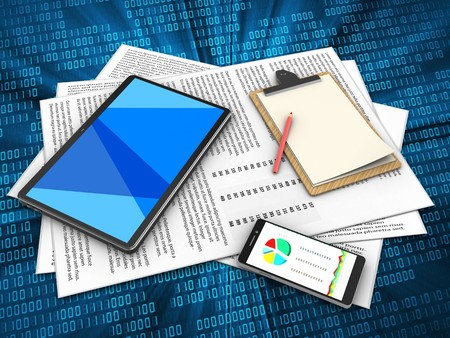 3d illustration of papers and tablet computer over digital background with note