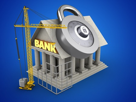 building site: 3d illustration of Bank over blue background with code lock and construction site