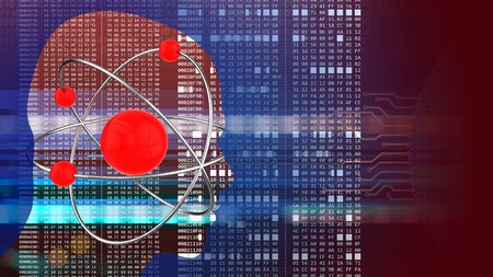 hexadecimal: abstract 3d red background with atom head silhouette and hexadecimal code Stock Photo