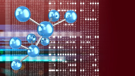 hexadecimal: abstract 3d red background with molecule model and hexadecimal code Stock Photo
