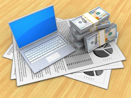3d illustration of documents and computer over wood table background with money