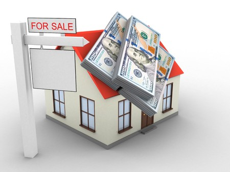earnest: 3d illustration of generic house over white background with money and sale sign Stock Photo