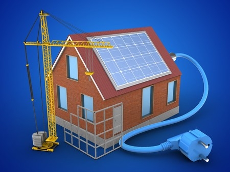 energy ranking: 3d illustration of bricks house over blue background with solar power and construction site Stock Photo