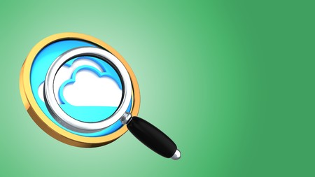 abstract 3d gree background with cloud symbol and magnify glass Stock Photo