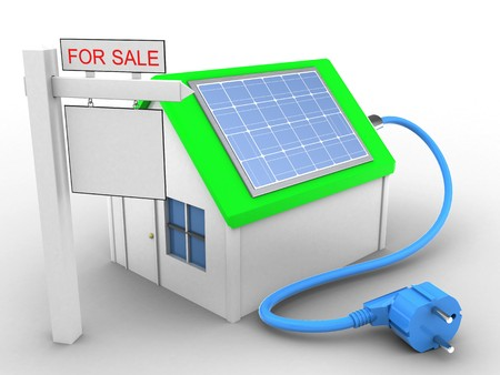3d illustration of simple house over white background with solar power and sale sign