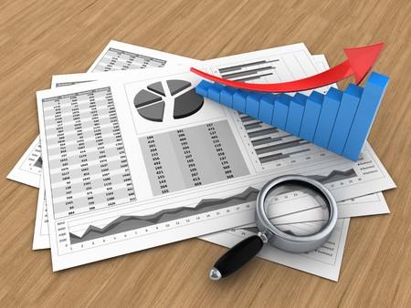 3d illustratie van bedrijfskaarten en pijl grafiek over houten achtergrond
