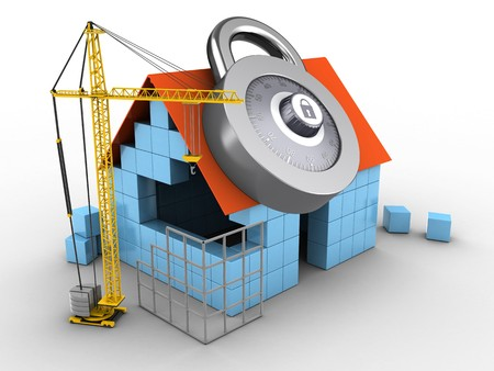 3d illustration of block house over white background with code lock and construction site