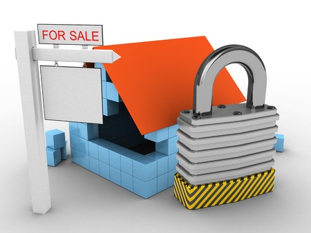 stipes: 3d illustration of block house over white background with padlock and sale sign