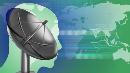 abstract 3d gree background with sat antenna head silhouette and earth Stock Photo