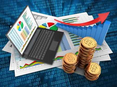 3d illustration of business documents and personal computer over digital background with arrow graph