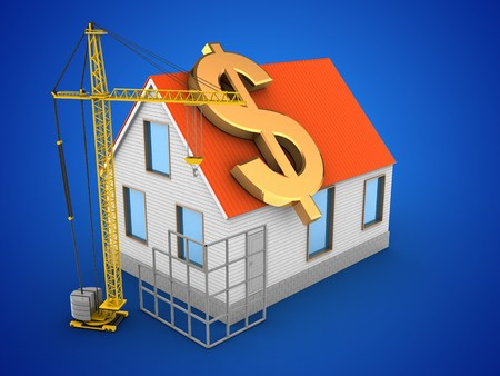 tower tall: 3d illustration of house red roof over blue background with dollar sign and construction site Stock Photo