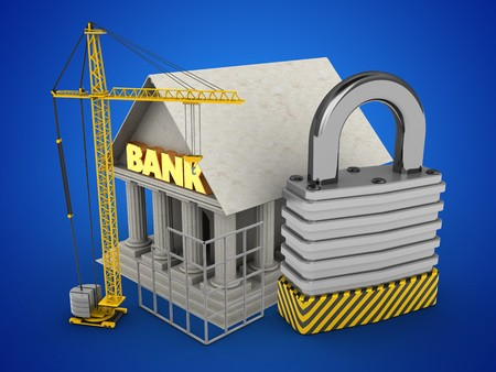 stipes: 3d illustration of Bank over blue background with padlock and construction site
