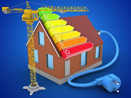 energy ranking: 3d illustration of bricks house over blue background with power ranks and crane