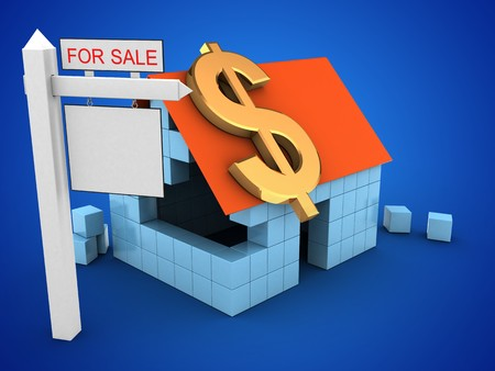 rent index: 3d illustration of block house over blue background with dollar sign and sale sign