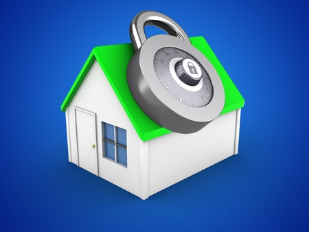 residential houses: 3d illustration of simple house over blue background with code lock