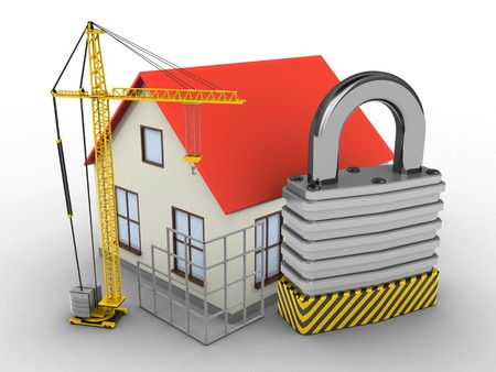 stipes: 3d illustration of generic house over white background with padlock and construction site Stock Photo