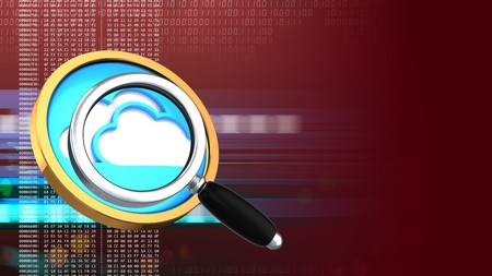 hexadecimal: abstract 3d red background with cloud symbol and magnify glass