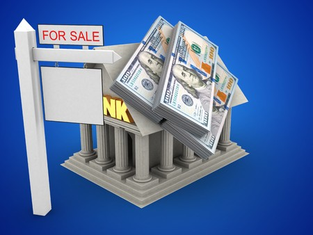 deposite: 3d illustration of Bank over blue background with money and sale sign