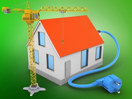 green power: 3d illustration of house red roof over green background with power cable and crane