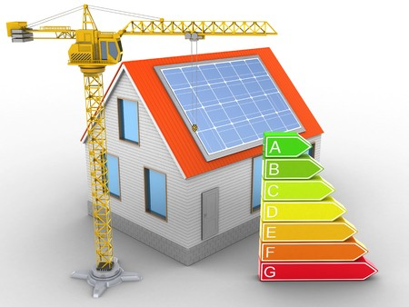 energy ranking: 3d illustration of house red roof over white background with clean energy and crane