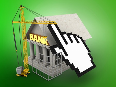 building site: 3d illustration of Bank over green background with cursor and construction site Stock Photo