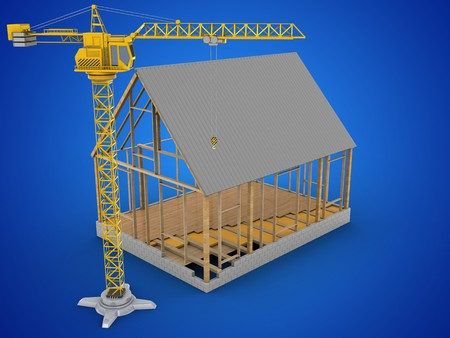 outside the house: 3d illustration of house frame over blue background with crane