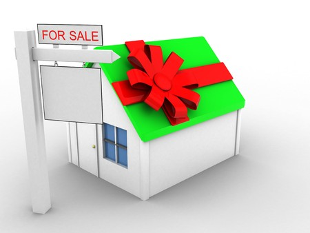 rent index: 3d illustration of simple house over white background with gift ribbon and sale sign