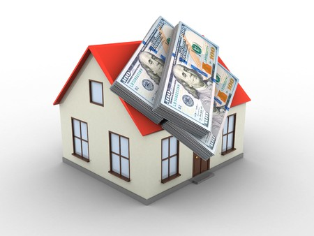3d illustration of generic house over white background with money Stock Photo