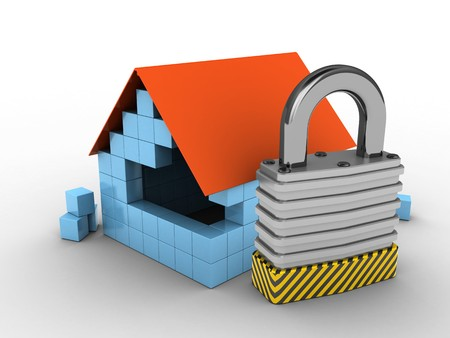 stipes: 3d illustration of block house over white background with padlock