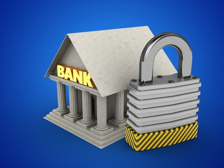 stipes: 3d illustration of Bank over blue background with padlock Stock Photo