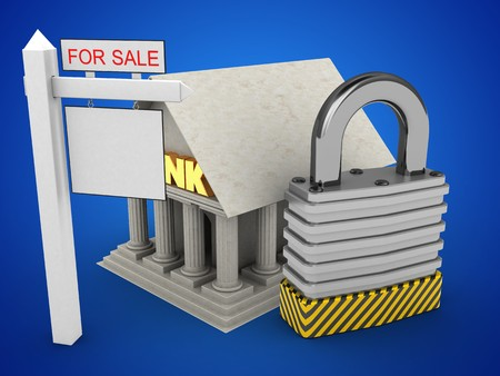 stipes: 3d illustration of Bank over blue background with padlock and sale sign