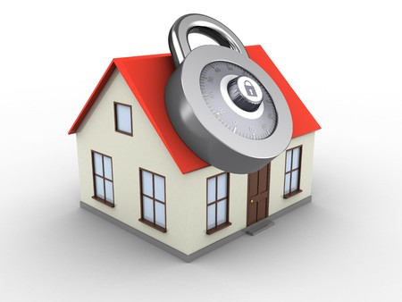3d illustration of generic house over white background with code lock