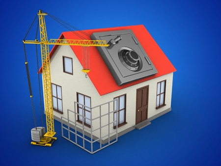 building site: 3d illustration of generic house over blue background with safe and construction site