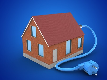 3d illustration of bricks house over blue background with power cable