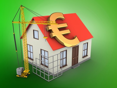 building site: 3d illustration of generic house over green background with euro sign and construction site Stock Photo