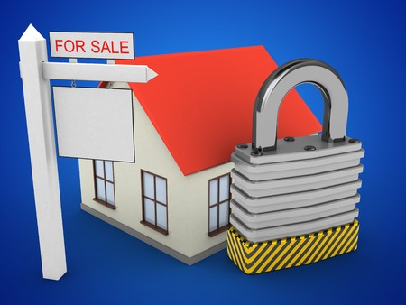 stipes: 3d illustration of generic house over blue background with padlock and sale sign